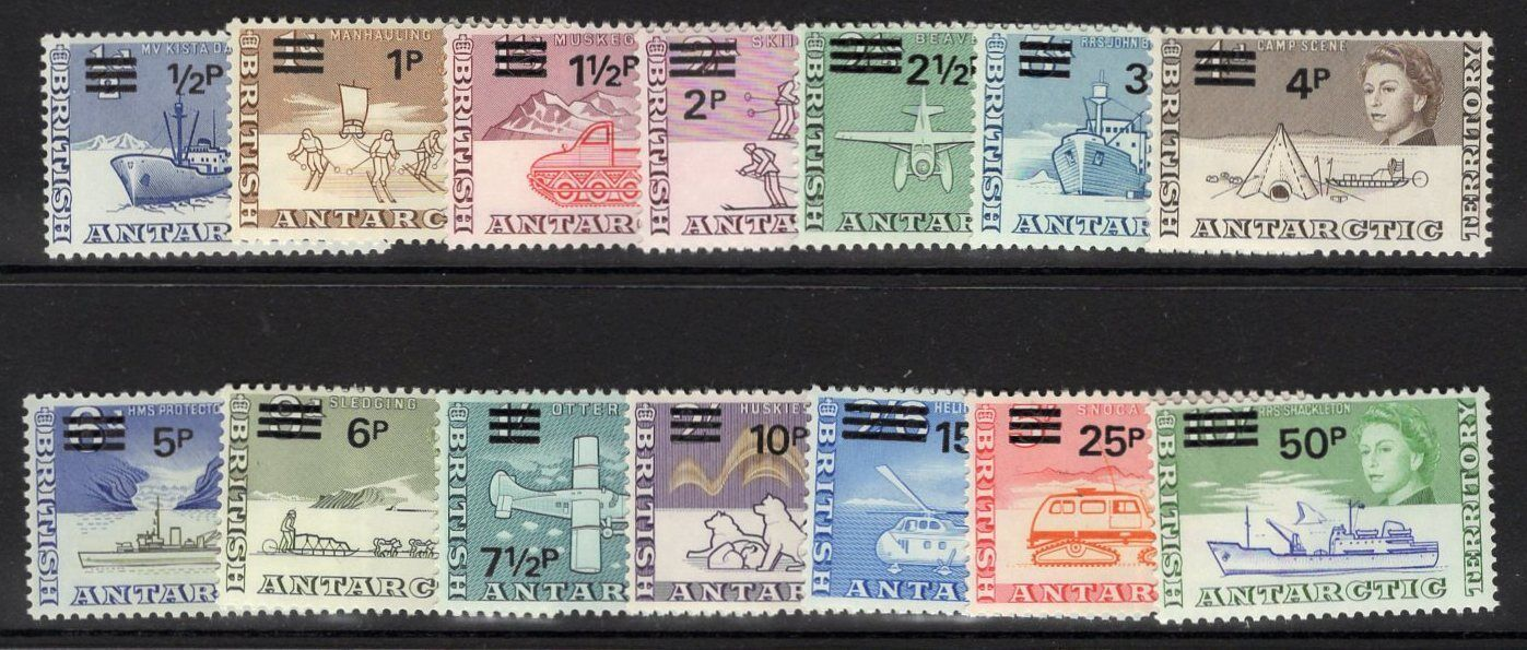 BRITISH ANTARCTIC TERR. SG24/37 1971 DECIMAL CURRENCY SURCHARGES MNH