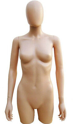 Mn-248 Flesh Plastic 34 Torso Female Upper Body Torso Form With Removable Head