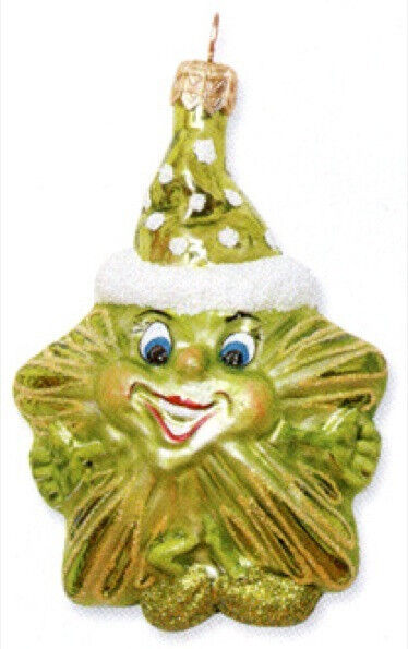 Slavic Treasures LIME HAPPY STAR Polish Glass Ornament