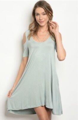 Long Sleeve Sage Peep Shoulder Dress. Size Large. People Are Free Boutique. (Peep Dress)