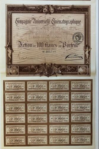 HISTORIC EARLY FRENCH CINEMA BOND w ALL COUPONS! CV $40! 1919 UNIVERSELLE CINEMA