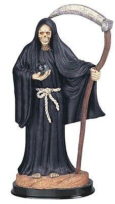 12 Inch Black Santa Santisima Muerte Holy Death Grim Reaper Statue Skull Figure