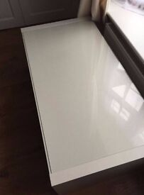 Ikea white lack glass topped coffee table