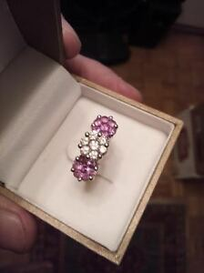 Diamond Pink SAPPHIRE  14k White Gold PAST,PRESENT,FUTURE.