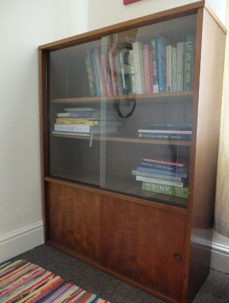 Beautiful Antique Wooden Bookshelf Sliding Gl Doors Cabinet Shelves Storage Books