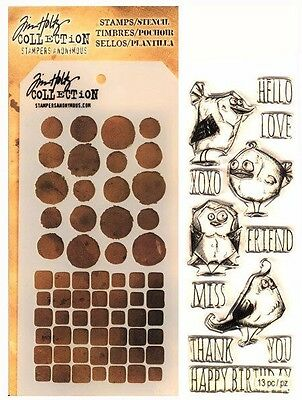 Bird Crazy Clear Acrylic Stamp & Stencil Set by Tim Holtz Stampers Anonymous](Crazy Bird)