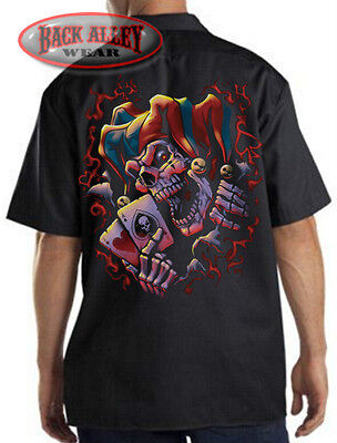 WICKED JESTER Joker Skull Clown Mechanics Work Shirt Biker M-3XL ACES Posse - Wicked Jester