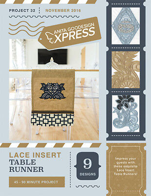 Anita Goodesign Express Lace Insert Table Runner Embroidery Machine CD (CD ONLY)