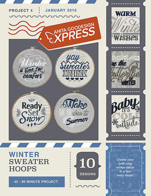 Anita Goodesign Express Winter Sweater Hoops Embroidery Machine CD (CD ONLY)