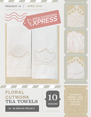 Anita Goodesign Express Floral Cutwork Tea Towels Embroidery CD (CD ONLY)