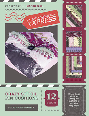 Anita Goodesign Express Crazy Stitch Pin Cushions Embroidery CD (CD ONLY)
