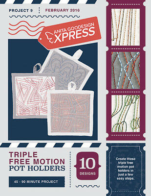 Anita Goodesign Express Triple Free Motion Pot Holders Embroidery CD (CD ONLY)