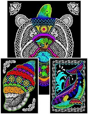 Geo Turtle - Large 23x20 Inch Fuzzy Velvet Coloring - Velvet Coloring Posters