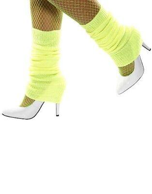 Smiffys Damen Kostüm Bein Wärmer Neongelb 80er Jahre Neu mit Etikett UK Freier