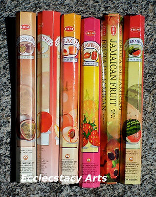 Hem Fruit Incense Red Apple-Strawberry-Passion Fruit-Watermelon-Peach-120 Sticks