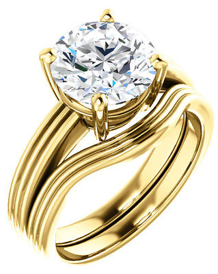 GIA 2.50 ct Round Diamond Engagement Solitaire 14k Yellow Gold Ring G color SI1