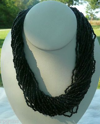 Beautiful Black Glass Seed Bead 30 Strand Necklace Tribal Pow Wow Rendezvous Beautiful Black Glass