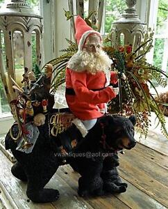 ANTIQUE-GERMAN-STYLE-SANTA-RIDING-A-MASSIVE-BLACK-FOREST-BEAR