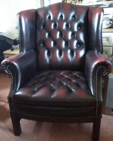 Classic leather chesterfield full buttoned armchair.