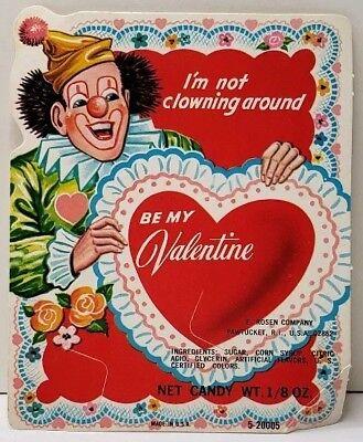 Valentine's Clown Vintage Rosen Sucker Lollipop Card Candy Holder E20