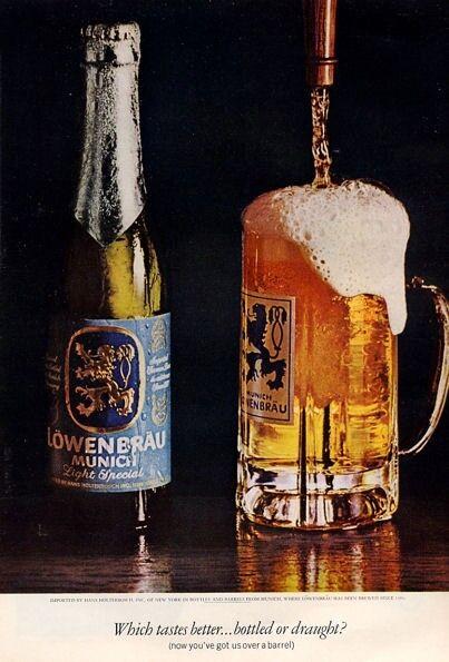 1971 Lowenbrau Munich Beer Vintage Bottle & Mug PRINT AD