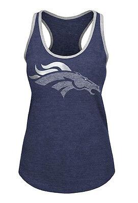 NFL Denver Broncos Majestic Women's Tip Toe Completion Tank Top - Blue Denver Broncos Womens Top