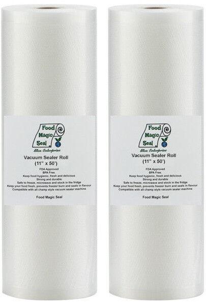 "Vacuum Sealer Bags 2-11""x50' Rolls Food Magic Seal Storage F"