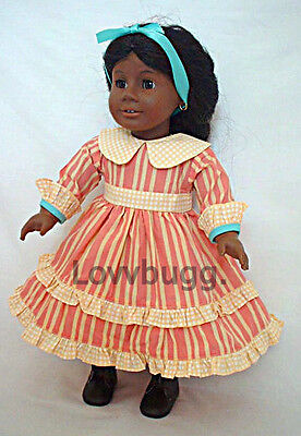 "Lovvbugg Stripes Dress for 18"" American Girl Doll Kirsten Swedish Pioneer Clothes"