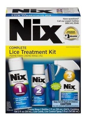 Complete Lice (NEW Nix Complete Lice Treatment 5-Piece Kit (2) Creme Rinse + Gel + Comb +)