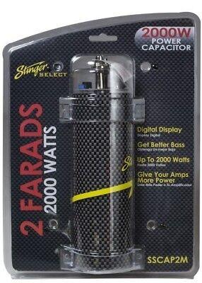 Stinger Select SSCAP2M 2 Farad Power Capacitor 12V Car Stereo Digital Power Cap (Car Stereo Capacitor)