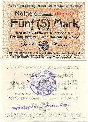 Marienburg Westpreußen, 1 Schein von 1918, Stempel ausser Kurs, 5 Mark
