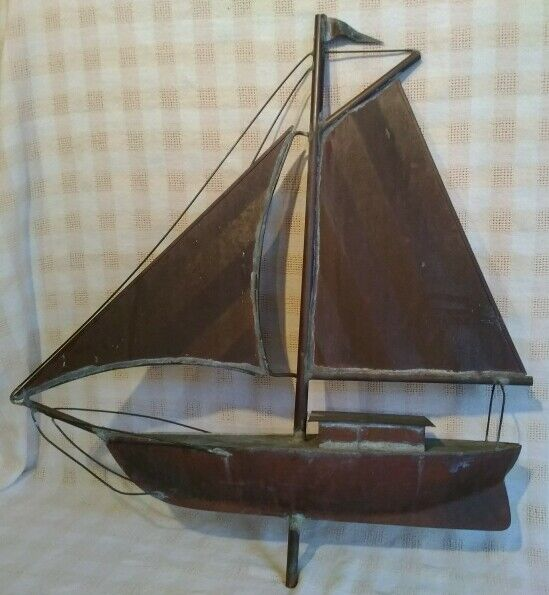 VINTAGE HAND-MADE COPPER  SAILBOAT WEATHERVANE TOPPER--Great Patina 23""