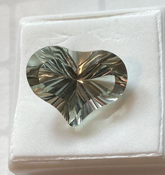 green amethyst prasiolite 16x20mm Heart Shaped Fantasy Cut 13.78ct Gemstone