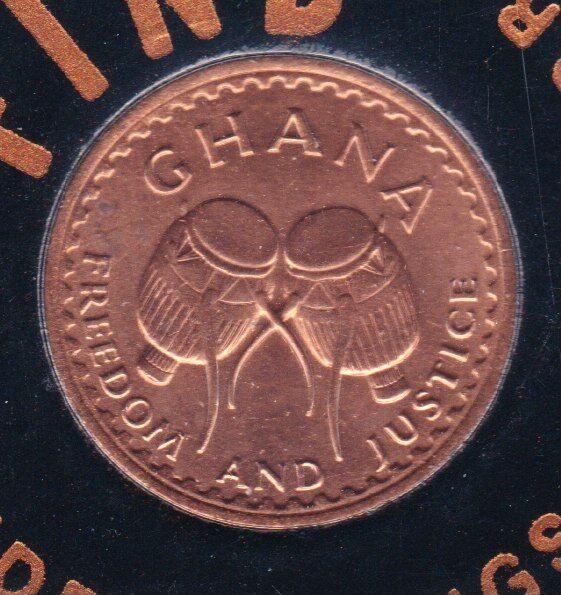 "1967 Ghana ½ Pesewa   KM#12  **Uncirculated Sealed Coin - ""FREEDOM & JUSTICE"""