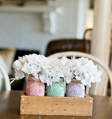 (Boho Mason jar decor distressed Ivory set of 3 wedding decor tablescape industri)
