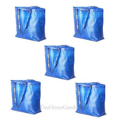 IKEA FRAKTA 5 Medium Reusable Eco Bags Shopping Laundry Tote Travel Storage Bag