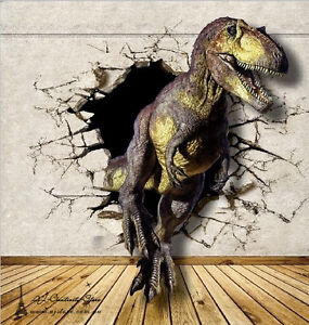 3d dinosaur 2 break thr wall paper wall print decal wall for Dinosaur mural ideas