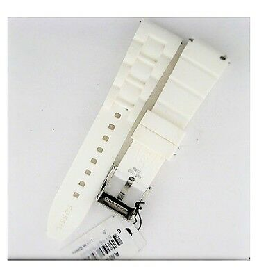 Fossil White Watch Strap (NEW-FOSSIL WHITE 22MM SILICONE WATCH STRAP,BAND+SILVER)