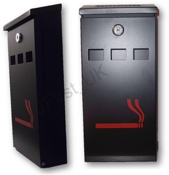 Heavy Steel Outdoor Wall Mounted Cigarette Ashtray Ash Bin