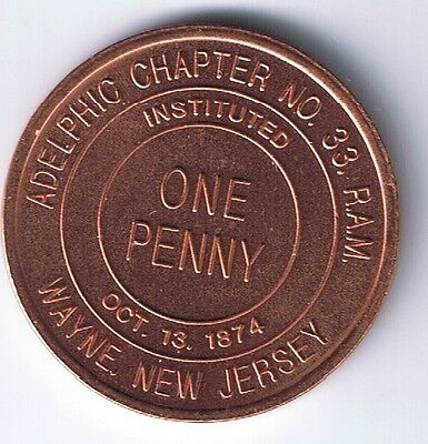 1874 MASONIC PENNY ADELPHIC CHAPTER NO. 33 WAYNE NEW JERSEY TOKEN MEDAL UNC