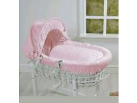 4Baby Luxury Padded White Wicker Baby Moses Basket - Pink Dimple