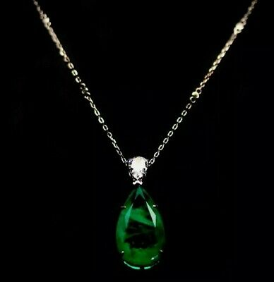 """17 X 30 mm. FOREST GREEN DOUBLET EMERALD & WHITE CZ NECKLACE 17"""" 925 SILVER"""