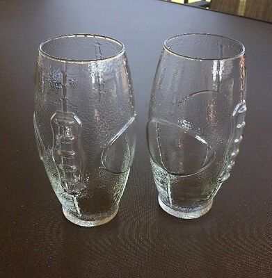 Set of 2 Football Shaped Drinking Glasses Cups Beer Mugs 23 ounces EUC  - Football Drinking Glasses