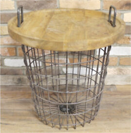 Brand New Industrial Style Metal basket storage table with wooden top