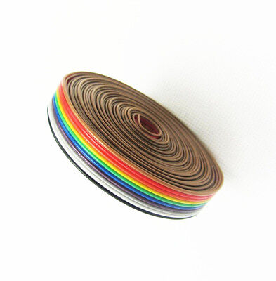 1.27mm Spacing Pitch10 Way 10p Flat Color Rainbow Ribbon Cable Wiring Wire Ca