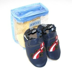 ROBEEZ NAVY BLUE RACE CAR SHOES SIZE 12 - 18 or 6-12 MNTH NEW