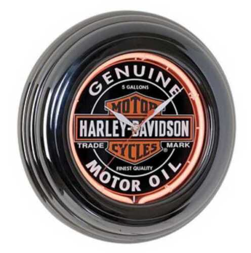 Harley-Davidson Oil can neon clock New HDL-16617