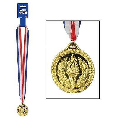 Plastic Gold Medal with Ribbon Award - Halloween Prize Ribbons
