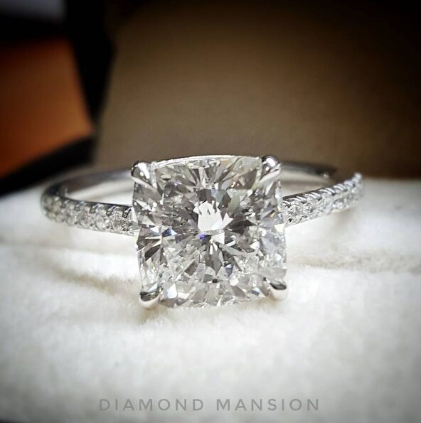 1.30ctw Natural Cushion Pave Diamond Engagement Ring - GIA Certified