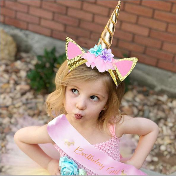 Magical Unicorn Horn Head Party Kid Hair Headband Dress Cosplay Decorative ZY